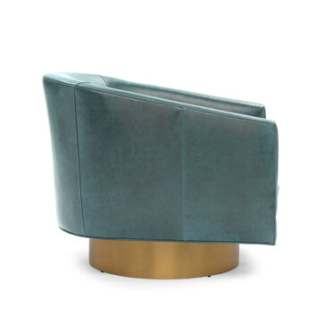 BIANCA FULL SWIVEL LEATHER CHAIR, MONT BLANC - BLUE SMOKE, hi-res