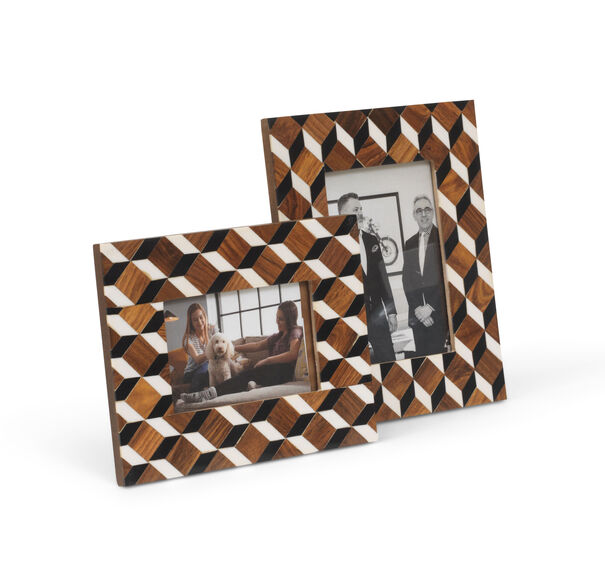 CHECKERED PICTURE FRAMES- SET OF 2, , hi-res