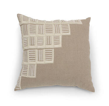 PUZZLED BULLION EMBROIDERY THROW PILLOW, , hi-res