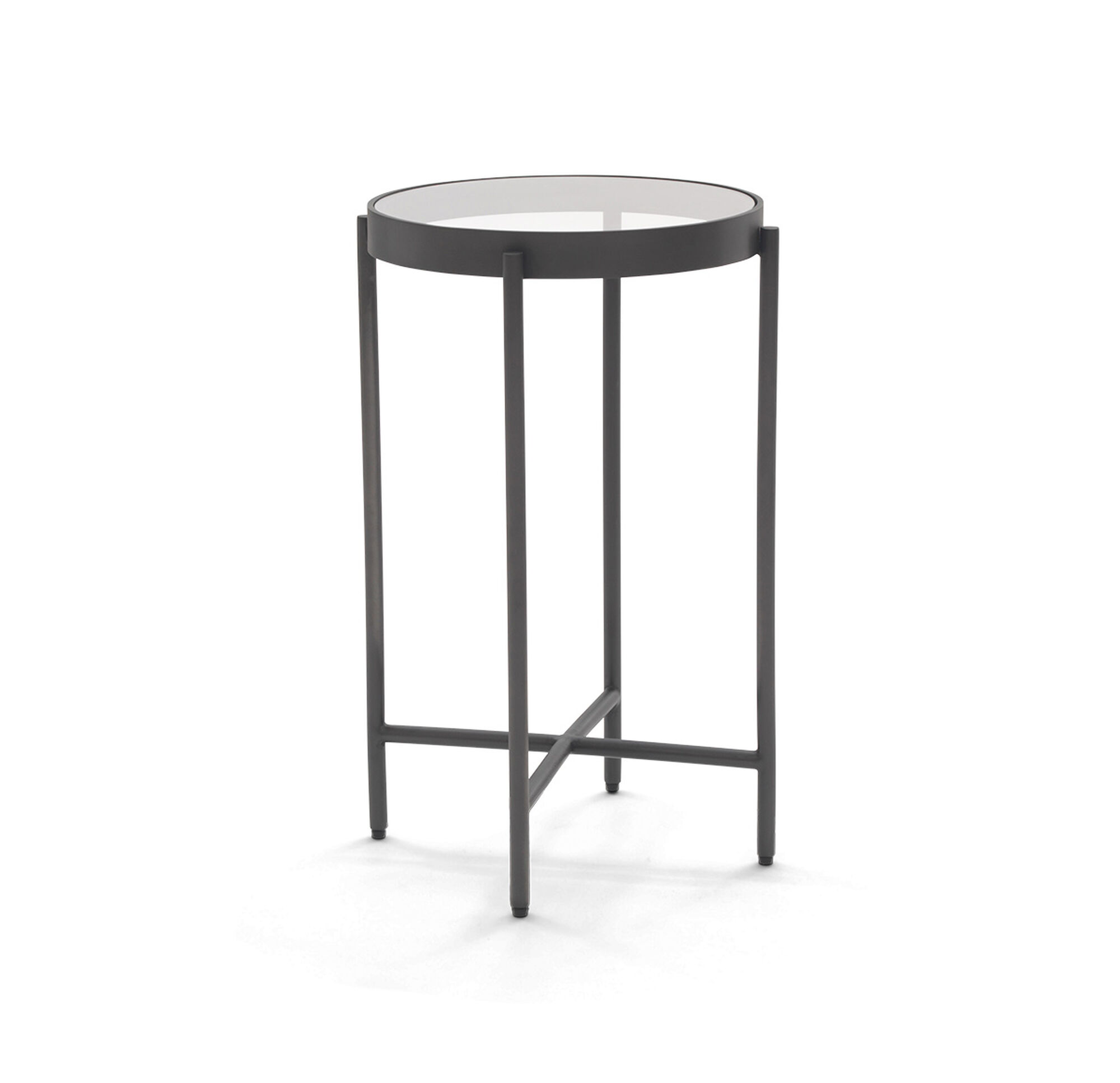 TURINO ACCENT TABLE - White marble and metal round accent table