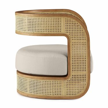 KIRBY CANED CHAIR, PERFORMANCE LINEN - SILVER, hi-res