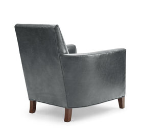 AIDEN LEATHER CHAIR, MONT BLANC - IRON, hi-res