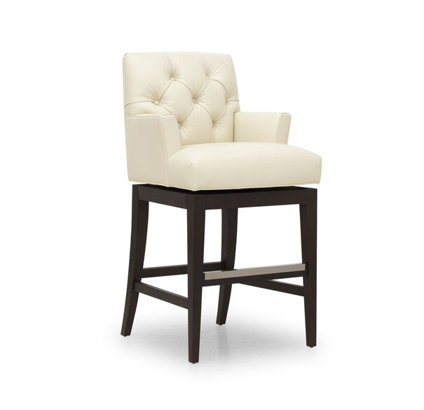 JACQUES LEATHER SWIVEL BAR STOOL, TRIBECA - CREAM, hi-res