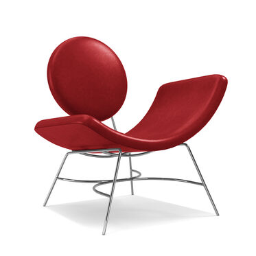 ELROY LEATHER RIGHT ARM CHAIR, MONT BLANC - CRIMSON, hi-res
