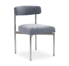 REMY DINING CHAIR - BRUSHED STAINLESS STEEL, Sunbrella Performance Basket Weave - DENIM                             , hi-res