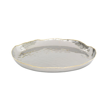 STAINLESS AND BRASS ROUND TRAY, , hi-res