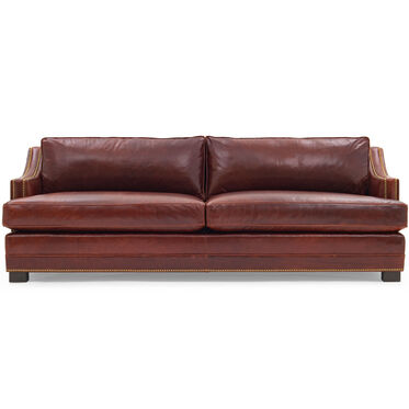 KEATON SLOPE ARM LEATHER SOFA CLASSIC DEPTH WITH NAILHEAD, , hi-res