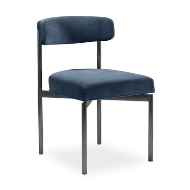 REMY DINING CHAIR - PEWTER, BOULEVARD - DEEP BLUE, hi-res