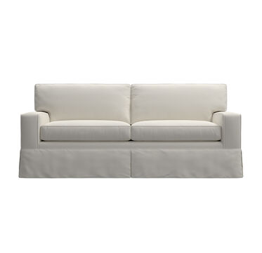 ALEX II LUXE QUEEN SLIPCOVER SLEEPER SOFA - LOOSE SKIRT, BULL DENIM - WHITE, hi-res