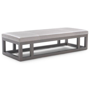 PATTERSON LEATHER LARGE COCKTAIL OTTOMAN, HIGHLAND - SILVER, hi-res