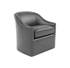 BRIDGET LEATHER SWIVEL CHAIR, MONT BLANC - IRON, hi-res