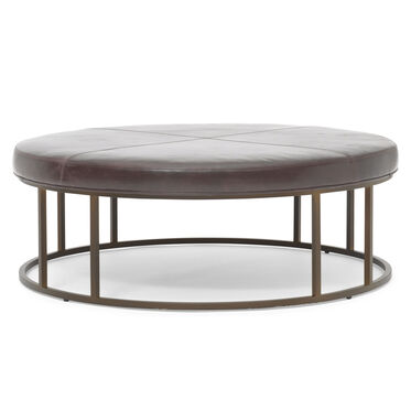 CARMEN LEATHER ROUND OTTOMAN, MONT BLANC - SPANISH MOSS, hi-res
