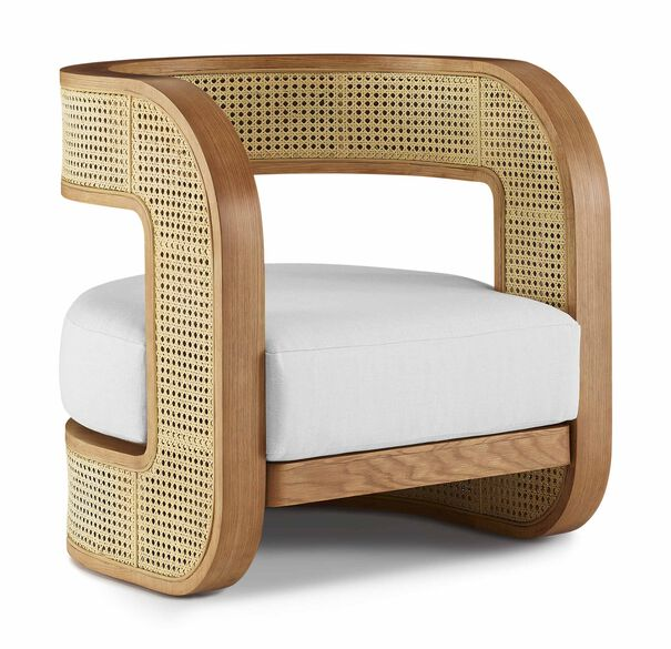 KIRBY CANED CHAIR, PERFORMANCE LINEN - WHITE, hi-res