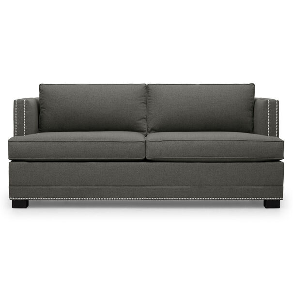 KEATON LUXE QUEEN NAILHEAD TRIM SLEEPER SOFA, FULMER - STEEL, hi-res
