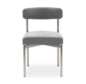 REMY DINING CHAIR - BRUSHED STAINLESS STEEL, Sunbrella Performance Basket Weave - GRAPHITE                             , hi-res