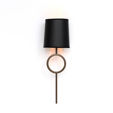 MARCO SCONCE - AGED BRASS BLACK SHADE, , hi-res