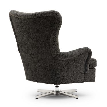 ORSON SWIVEL CHAIR, SHERPA - CHARCOAL, hi-res