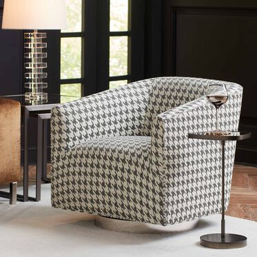 COOPER STUDIO RETURN SWIVEL CHAIR, HOUNDSTOOTH - CHARCOAL, hi-res