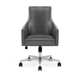 ADA LEATHER DESK CHAIR, MONT BLANC - IRON, hi-res