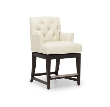 JACQUES LEATHER SWIVEL COUNTER STOOL, CORDELL - DOVE, hi-res