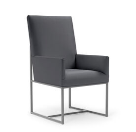 GAGE TALL ARM DINING CHAIR - BRUSHED STAINLESS STEEL, Vinyl - CHARCOAL, hi-res