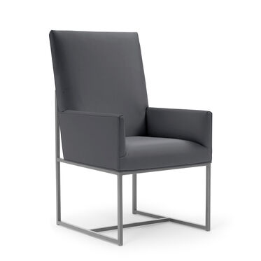 GAGE TALL ARM DINING CHAIR - BRUSHED STAINLESS STEEL, KOKO - CHARCOAL, hi-res