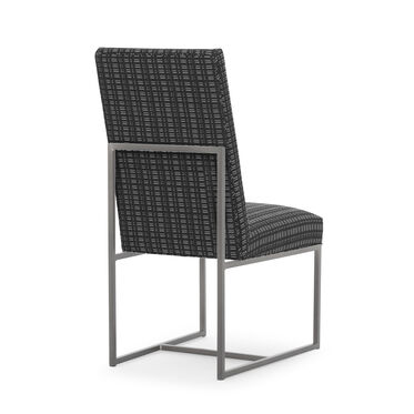 GAGE TALL DINING CHAIR - BRUSHED STAINLESS STEEL, DOT DASH - GRAPHITE, hi-res