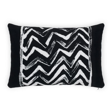 "15"" X 22"" NO WELT ACCENT PILLOW, CADORE - BLACK & WHITE, hi-res"