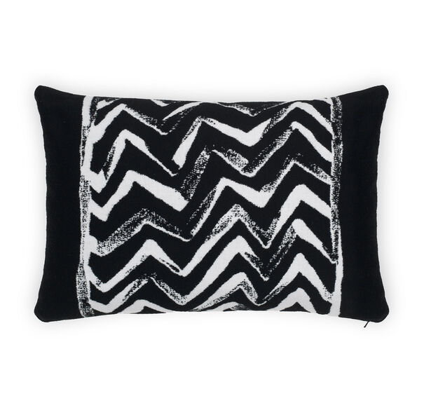 "SUNBRELLA 15"" X 22"" ACCENT PILLOW, CADORE - BLACK/WHITE, hi-res"