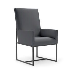 GAGE TALL ARM DINING CHAIR - PEWTER, Vinyl - CHARCOAL, hi-res