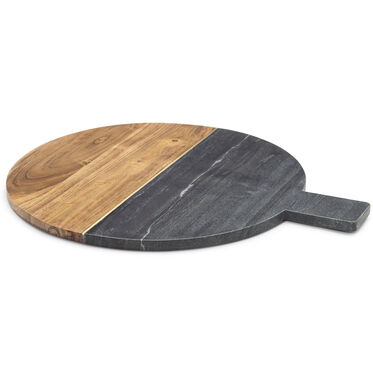 GRAY MARBLE AND ACACIA WOOD SERVING BOARD, , hi-res