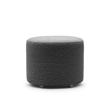 FRANNY ROUND PULL UP OTTOMAN, SHERPA - CHARCOAL, hi-res