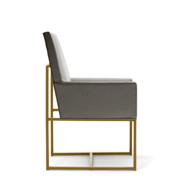 GAGE LOW ARM DINING CHAIR - BRUSHED BRASS, KOKO - STEEL, hi-res