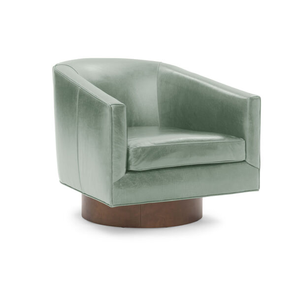 BIANCA FULL SWIVEL LEATHER CHAIR, MONT BLANC - MEDITERRANEAN, hi-res