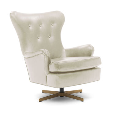 ORSON LEATHER SWIVEL CHAIR, MONT BLANC - IVORY, hi-res