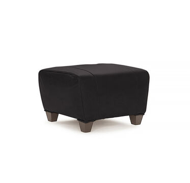 PHILIPPE LEATHER OTTOMAN, ROYALE - ONYX, hi-res