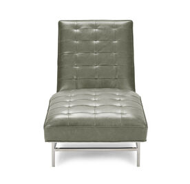 MAJOR LEATHER CHAISE, MONT BLANC - FERN, hi-res
