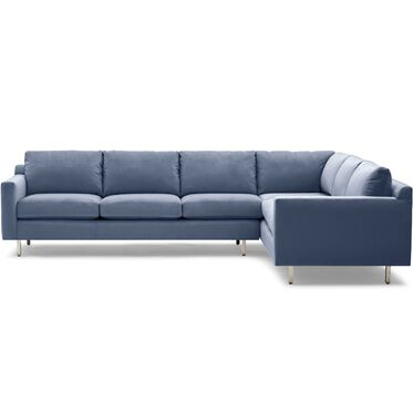 HUNTER STUDIO RIGHT SECTIONAL SOFA, PIPPIN - NAVY, hi-res
