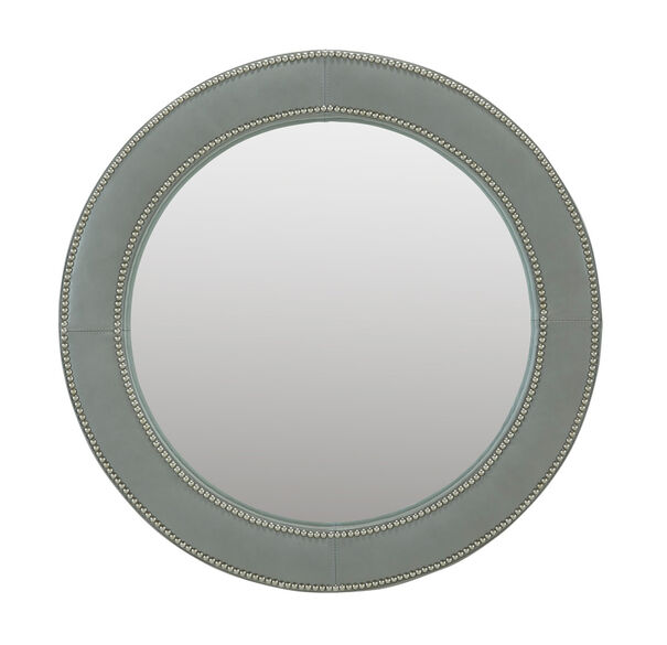VICTORIA LEATHER ROUND MIRROR, , hi-res