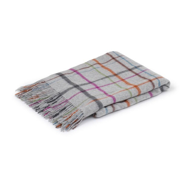 LAMBSWOOL OPEN PLAID THROW - GRAY, , hi-res