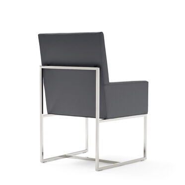 GAGE LOW ARM DINING CHAIR - POLISHED STAINLESS STEEL, KOKO - CHARCOAL, hi-res