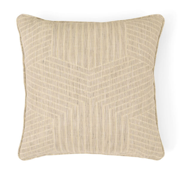 "JACQUARD 21"" X 21"" WELT ACCENT PILLOW, FARLEY - SILVER SAND, hi-res"