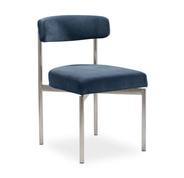 REMY DINING CHAIR - BRUSHED STAINLESS STEEL, BOULEVARD - DEEP BLUE, hi-res