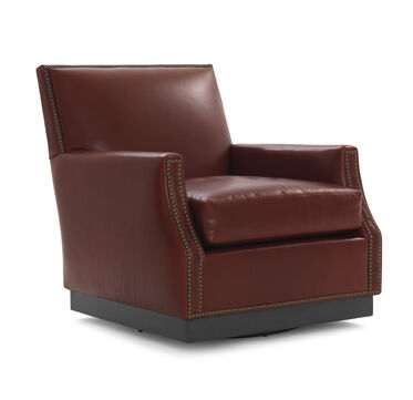 BENSON FULL SWIVEL LEATHER CHAIR, ROJO - ROUGE, hi-res