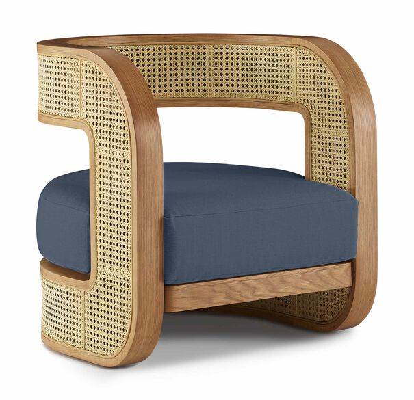 KIRBY CANED CHAIR, PERFORMANCE LINEN - DENIM, hi-res