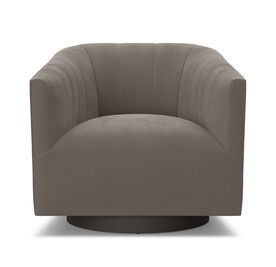 COOPER CHANNEL TUFTED SWIVEL CHAIR, Performance Micro Velvet - CAFE, hi-res