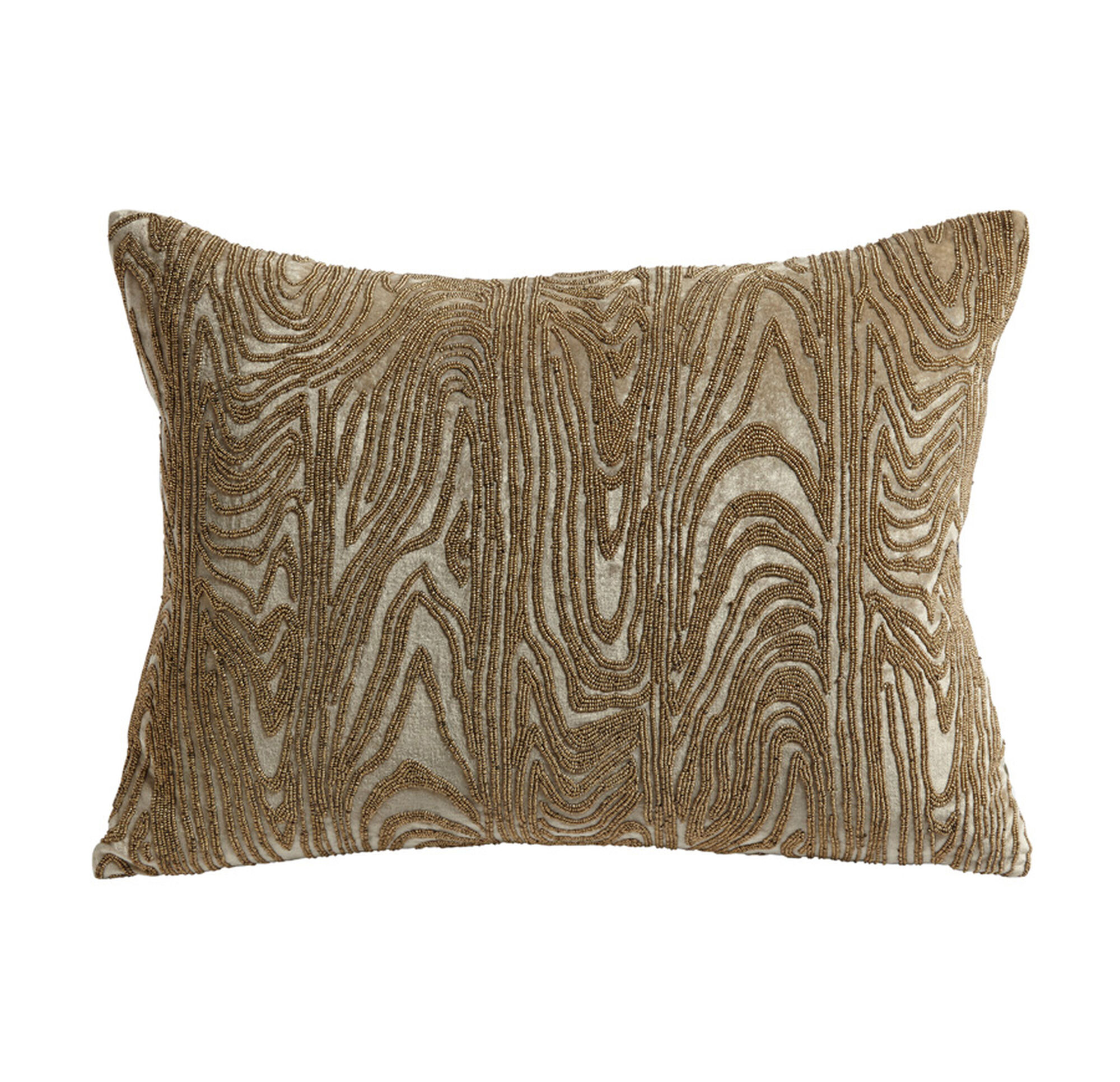Gold Beaded Faux Bois Throw Pillow