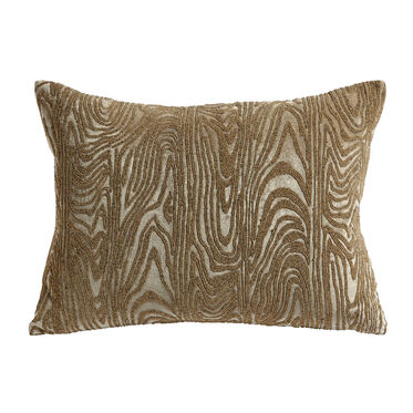 GOLD BEADED FAUX BOIS THROW PILLOW, , hi-res