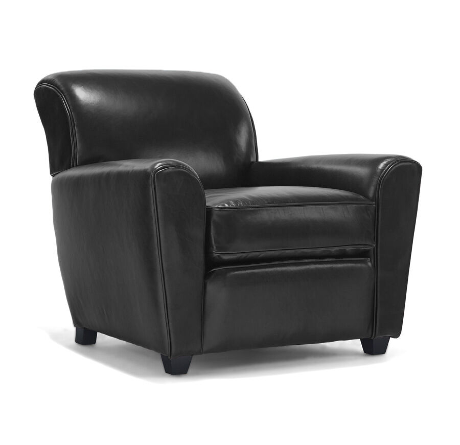 LOUIE LEATHER CHAIR, ROYALE   ONYX, Hi Res