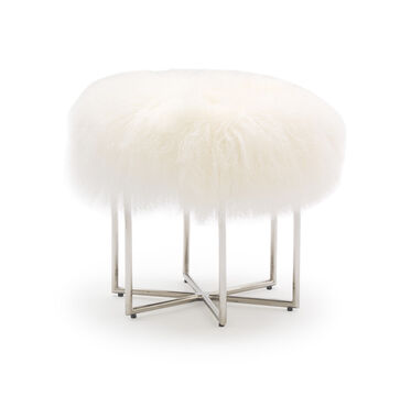 ASTRA TIBETAN WOOL PULL-UP STOOL, TIBETAN FUR - WHITE, hi-res